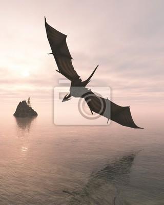 Drachen fliegen niedrig über dem Meer am Abend - Fantasy-Illustration
