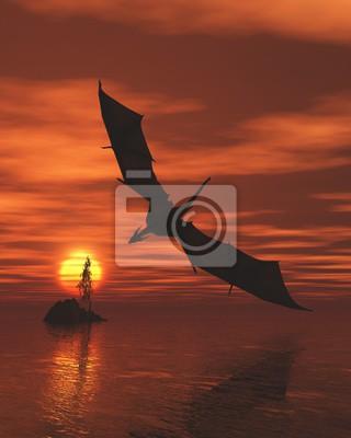 Drachen fliegen niedrig über dem Meer bei Sonnenuntergang - Fantasy-Illustration