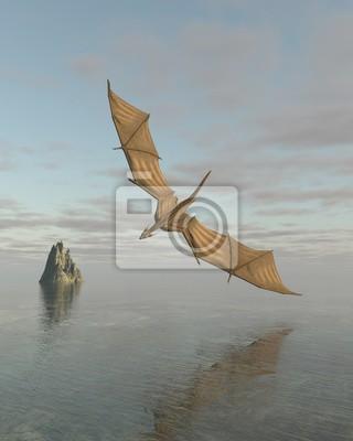 Drachen fliegen tief über dem Meer in Daylight - Fantasy-Illustration