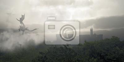 Drachen fliegen über eine Misty Fantasy Forest