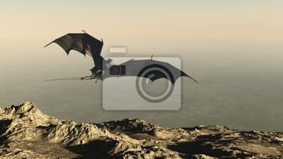 Dragon Flying über einen Berg Klippe
