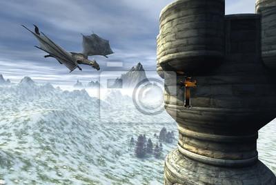 Dragon Tower - Fantasy Illustration von einem Drachen fliegen in Richtung einer einsamen Turm in einer Winterlandschaft, 3d digital gerenderten Bild