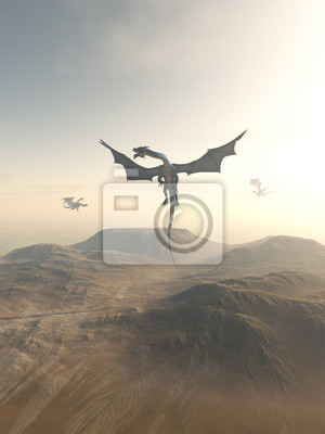Dragons Circling over a Mountain Landscape - fantasy illustration