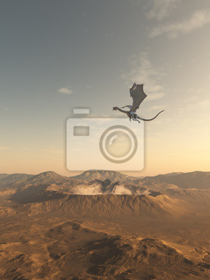 Dragons Flying Around a Smoking Desert Crater, fantasy illustration