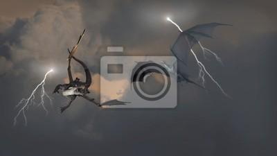 Dragons Kampf in Gewitterwolken
