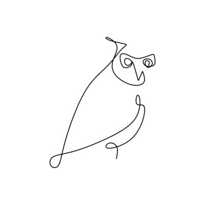 Bild drawing a continuous line of owls with a simple design.