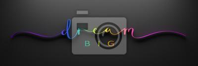 Bild DREAM BIG 3D render of brush calligraphy with rainbow gradient on black background