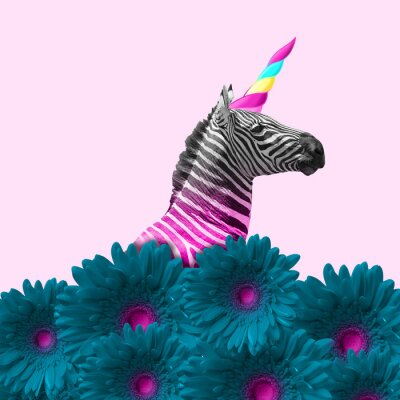 Bild Dreaming about being better. An alternative zebra like a unicorn in blue flowers on pink background. Negative space. Modern design. Contemporary art. Creative conceptual and colorful collage.