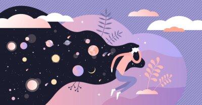 Bild Dreams vector illustration. Abstract night deep sleep tiny persons concept.