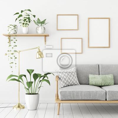 Drei frames poster mock up in skandinavischen wohnzimmer innenraum ...