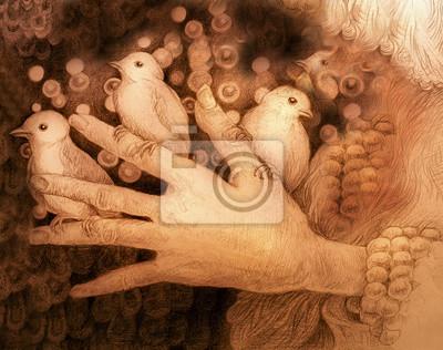 Drei kleine Vögel sitzen auf den Fingern der Hand, monochromatische Zeichnung