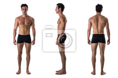 Bild Dreifacher Blick auf den shirtless Bodybuilder: Rücken, vorne, Seite