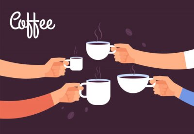 Bild Drinking coffee concept. Friends drink coffee for breakfast. Break in office with espresso vector concept. Illustration of coffee drink, cafe breakfast morning with hot espresso