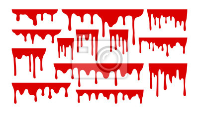 Bild Dripping paint or blood set. Liquid with hanging drops. Halloween design collection.