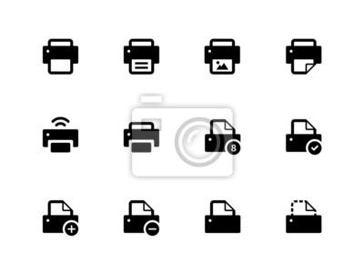 Drucker-Symbole auf weißem Hintergrund.