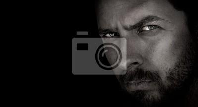 Bild Dunkle Porträt Angst Mann mit bösen Augen