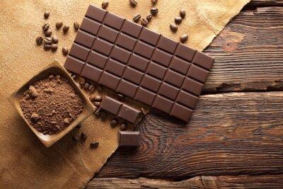 Bild Dunkle Schokolade, Kakao und Kaffee Körner