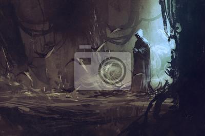 Bild Dunklen Mantel in geheimnisvollen Wald, Zauberer, Zauberer, Illustration