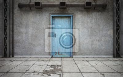 Bild Dunkler Betonmauerraum mit alter Tür. 3D-Rendering
