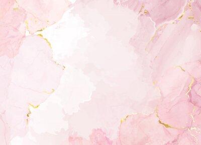 Bild Dusty rose and golden marble geode frame. Spring wedding invitation.