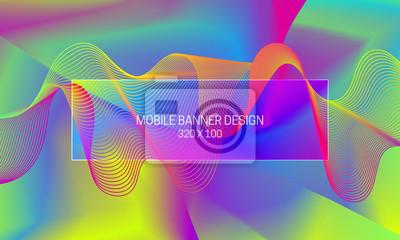 Dynamischer Hintergrund des Vektors mit der bunten Guillochewelle.  Vorlage für die Erzeugung eines mobilen Bannerhintergrunds.