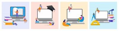 Bild E-learning, online education at home. Modern vector illustration concepts for website and mobile website development