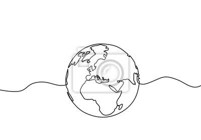 Bild Earth globe one line drawing of world map vector illustration minimalist design of minimalism isolated on white background