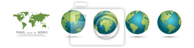 Bild Earth Globes collection. Set of 3d earth globes with shadow. Travel around the world concept