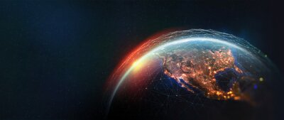 Bild Earth view from space. Global network. Blockchain technology. Planet and communication. Future world 3D illustration. Elements of this image are furnished by NASA