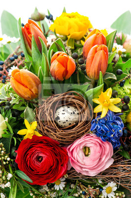 Easter Bouquet With Egg Decoration Spring Flowers Tulip Ranunc