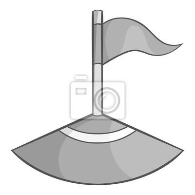 Ecke Flagge Auf Fussball Feld Symbol In Schwarz Monochromen