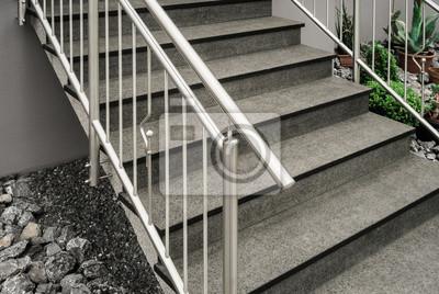 Edelstahl Treppengelander An Einer Freitragenden Betontreppe