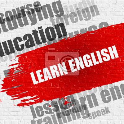 Education Service Concept: Lerne Englisch - auf White Brickwall mit Wordcloud Around. Moderne Illustration. Lerne Englisch Moderne Stil Illustration auf rotem Pinselstrich.