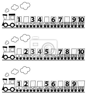 Educational Math Train Fur Kinder Mit Den Zahlen 1 10 Ausmalbilder Leinwandbilder Bilder Choo Choo Kindertagesstatte Mathematische Myloview De