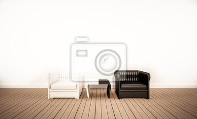 Eiche Holzboden Und Weiße Wand Mit Kontrast Schwarz Weiß Sessel