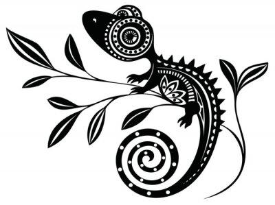 Bild Eidechse auf einem branch.pattern. Chameleon.tattoo.
