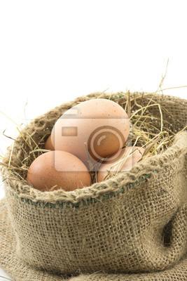 Bild Eier in einem braunen Sack Hochformat
