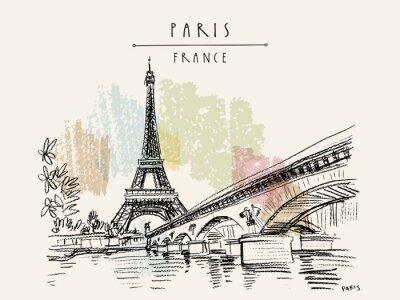 Bild Eiffel Tower in Paris, France. Vintage hand drawn touristic postcard