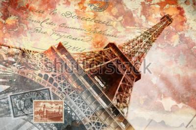 Bild Eiffelturm Paris, abstrakte digitale Kunst, Postkarte