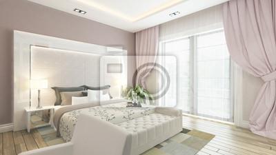 Bild: Ein 3d-rendering der modernen schlafzimmer mit rosa wand