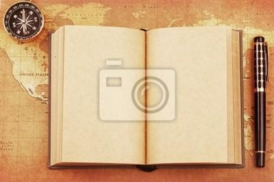 Ein altes Buch auf einer Schatzkarte Hintergrund