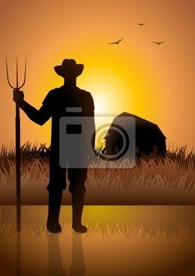 Ein Bauer und seine Scheune