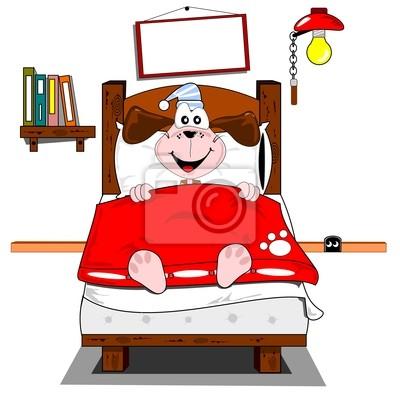 Ein Comic Hund Im Bett Liegend Leinwandbilder Bilder Liegend