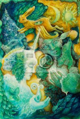Ein Einblick in eine Märchenreich, detaillierte schöne bunte Fantasie