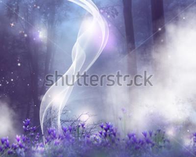 Bild Ein Fantasiehintergrund mit purpurroten Blumen und magischen Effekten.