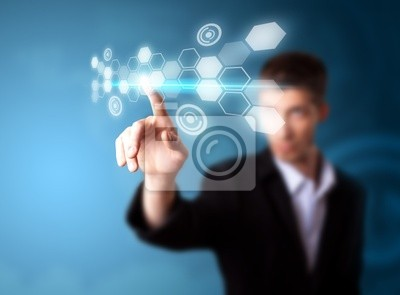 Ein Geschäftsmann arbeiten auf moderne Technologie