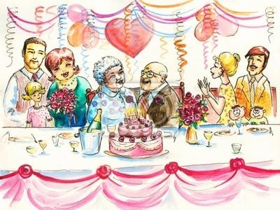 Ein glückliches Paar Senior mit der Familie feiern ihren gemeinsamen Jahren