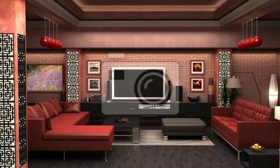 Fantastisch Bild Ein Interieur Visualisierung Ein Wohnzimmer.