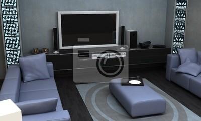 Bild Ein Interieur Visualisierung Einer Asiatischen Themed Wohnzimmer.