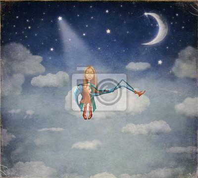 Ein Junge und ein Mädchen sitzen im Mondschein auf Wolke